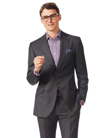 Grey slim fit Italian stripe suit jacket