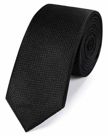 Black silk slim textured semi plain classic tie