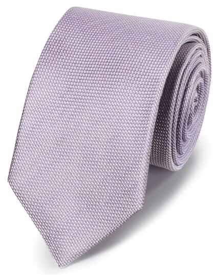 Cravate classique lilas unie en lin et soie