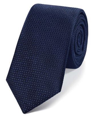 Navy silk slim textured semi plain classic tie