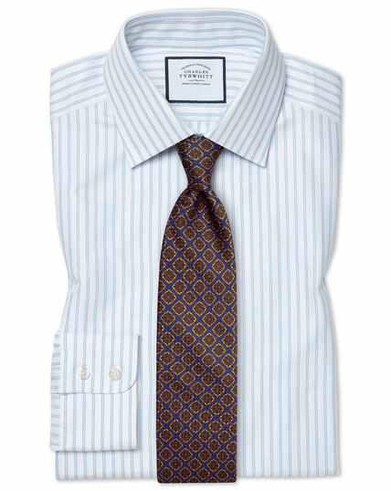 Classic fit brushed-back basketweave striped blue shirt