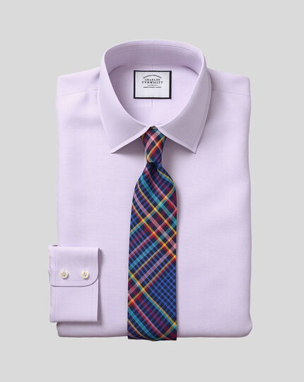 Classic Collar Egyptian Cotton Lattice Weave Shirt - Lilac