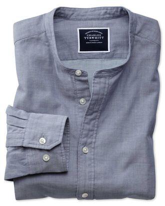 Slim Fit Hemd ohne Kragen aus Chambray-Stoff