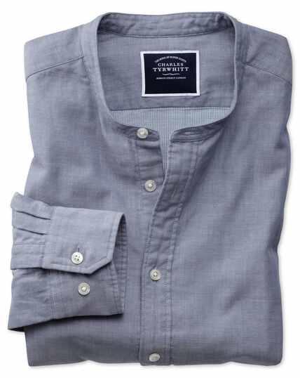 Slim fit chambray collarless shirt