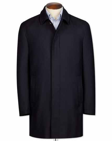 Navy herringbone wool car coat