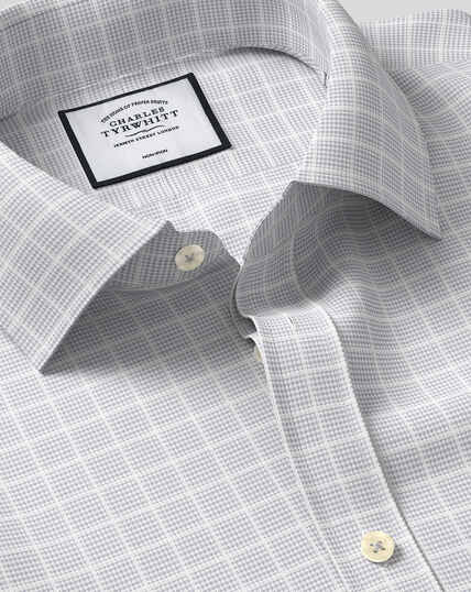 Classic Collar Non-Iron Check Shirt - Silver