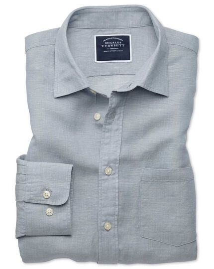 Classic fit light grey TENCEL™ with linen shirt