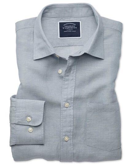 Slim fit light grey Tencel™ with linen shirt