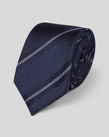 Slim Silk Textured Stripe Tie - Navy & White