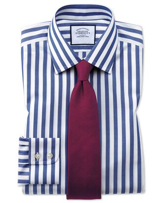 Extra slim fit non-iron blue wide bengal stripe shirt