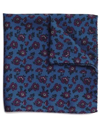 Blue and purple wool silk floral printed Italian pocket square