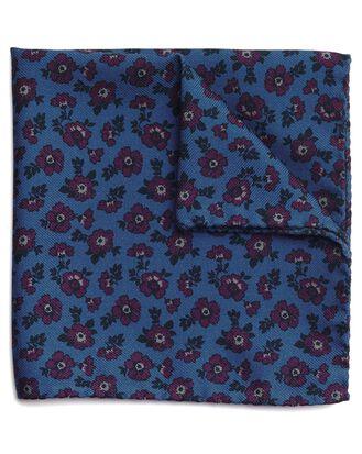 Italienisches Einstecktuch aus Wolle und Seide mit Blumenmuster in Blau und Violett