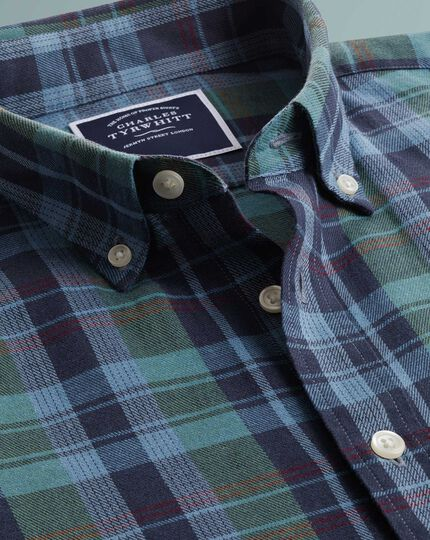 Classic fit navy and  green check cotton linen twill shirt