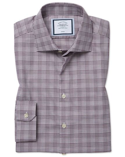 Super slim fit non-iron natural stretch Prince of Wales check berry shirt