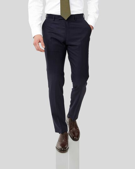 Italian Luxury Twill Suit Trousers - Navy