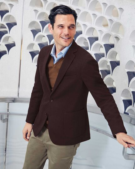 Slim fit aubergine stretch herringbone modern unlined jacket