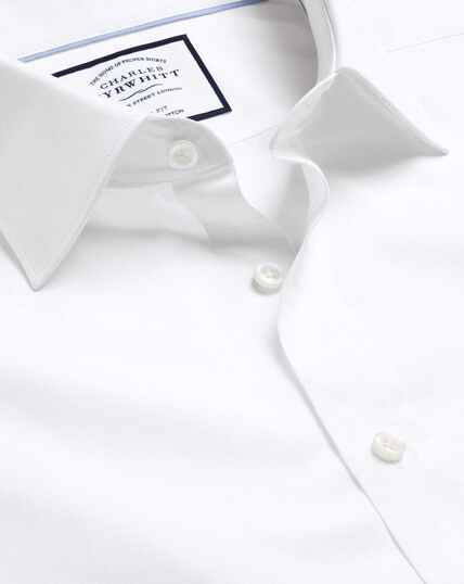 Semi-Spread Collar Egyptian Cotton Poplin Shirt - White