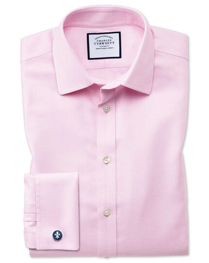 Classic fit non-iron step weave pink shirt