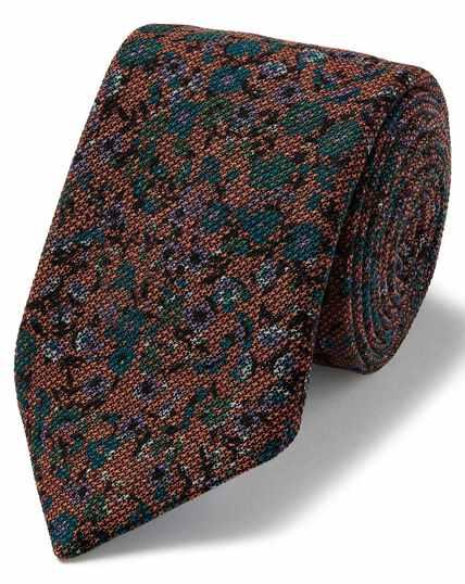 Luxe oranje Italiaanse wollen stropdas met bloemenprint