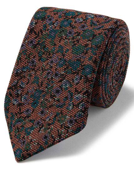 Orange floral wool print luxury Italian tie
