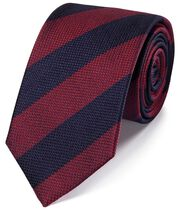 Red and blue silk block stripe classic tie
