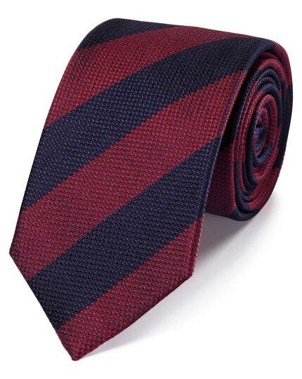 Klassische Krawatte aus Seide mit Blockstreifen in Rot und Blau