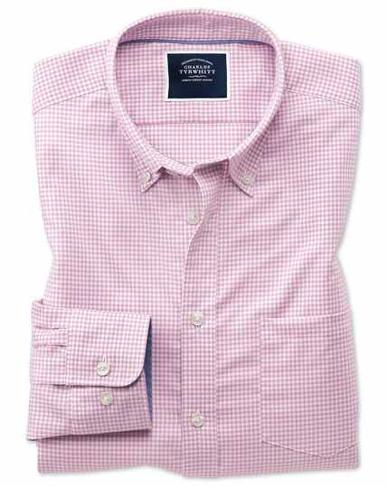 d1fc7676147 ... Classic fit pink gingham soft washed non-iron stretch shirt