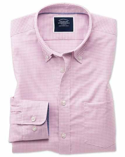 Vorgewaschenes bügelfreies Slim Fit Hemd mit Stretch und Gingham-Karos in Rosa