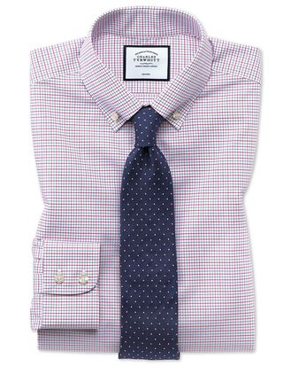 Slim fit non-iron button-down red and blue check shirt