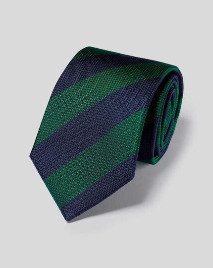 Silk Block Stripe Classic Tie - Navy & Green