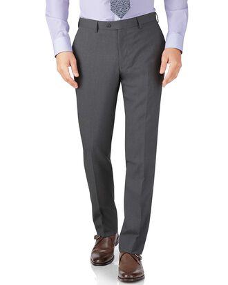 Slim Fit Business Anzug Hose aus Krepp in Silber
