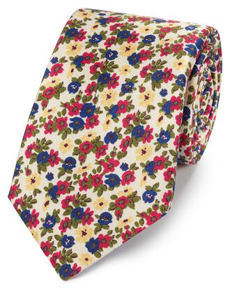 Multi silk floral print Italian luxury tie