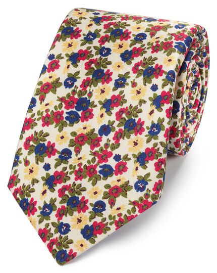 Cravate multicolore en luxueuse soie italienne avec imprimé floral