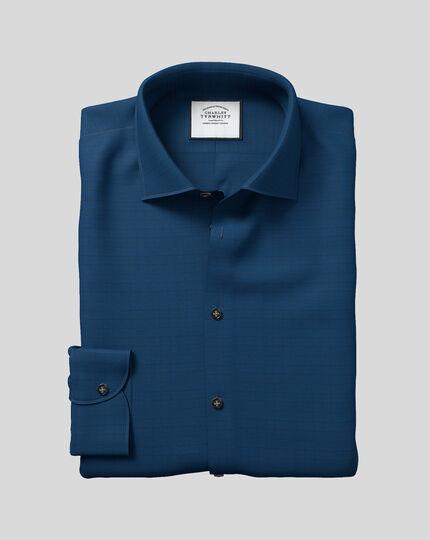 Hemd mit Business-Casual-Kragen und Karos - Petrolblau