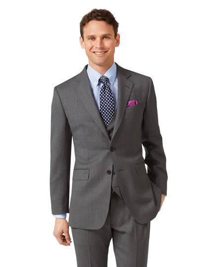 Grey slim fit birdseye travel suit jacket