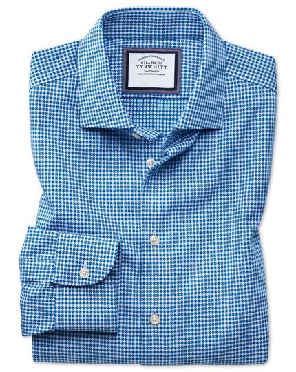 Slim fit semi-cutaway business casual non-iron modern textures blue and white spot shirt