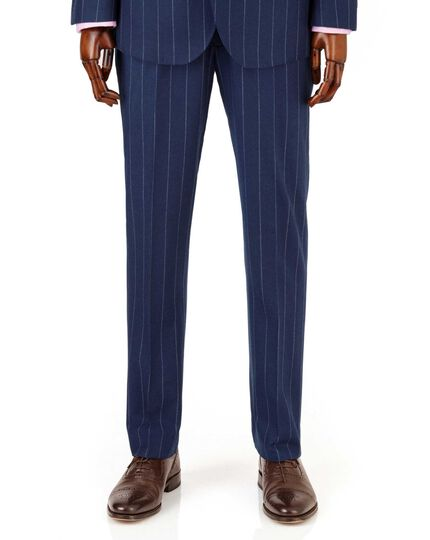 Royal blue wide stripe slim fit flannel business suit pants