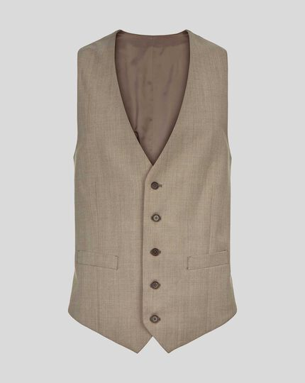 Herringbone Suit Waistcoat - Fawn