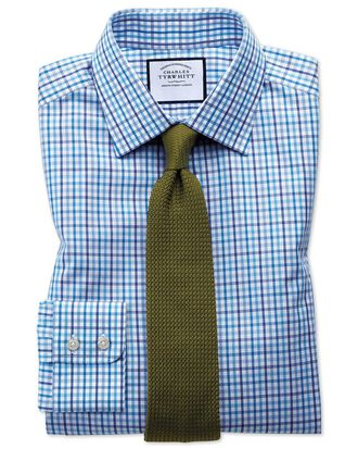 Classic fit poplin multi blue check shirt