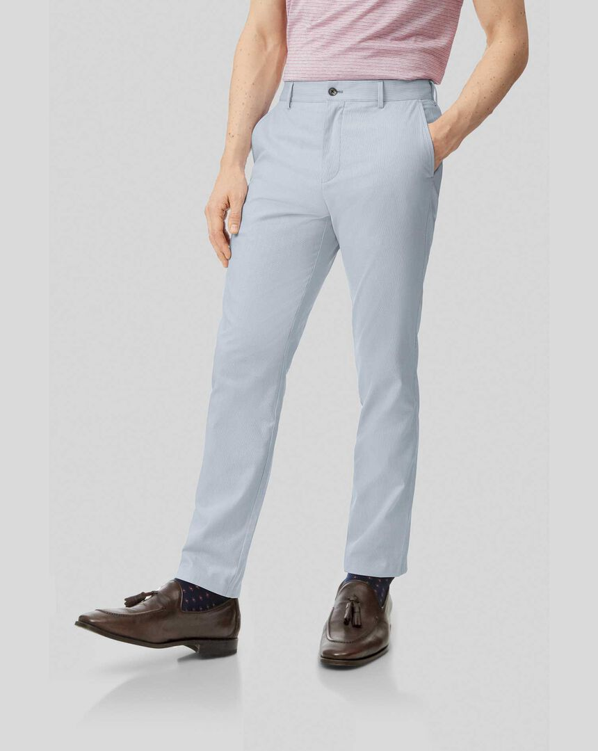 Fine Stripe Pants - Light Blue