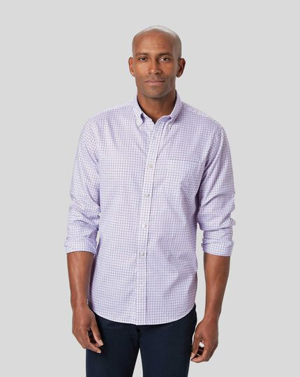 Button-Down Collar Non-Iron Stretch Oxford Check Shirt - Lilac & Navy