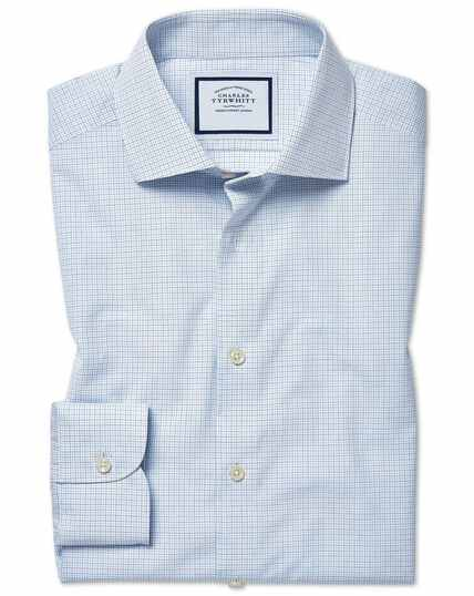 Slim fit peached Egyptian cotton blue check shirt