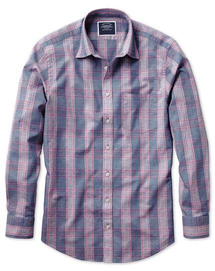 Slim fit cotton linen blue and purple check shirt