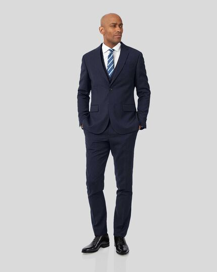 Business Textured Suit - Navy