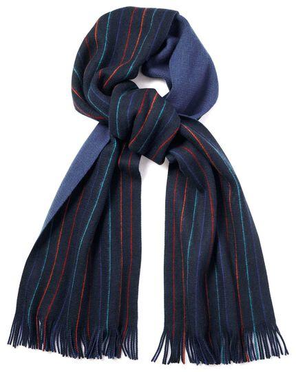 Schal aus Merino mit Streifen in Marineblau
