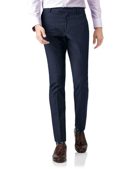 Navy extra slim fit stretch non-iron Pants