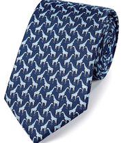 Klassische Krawatte aus Seide mit Giraffen-Print in Marineblau