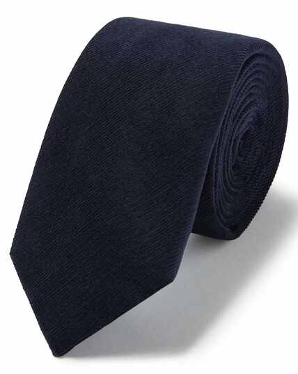 Navy cotton cord plain slim tie