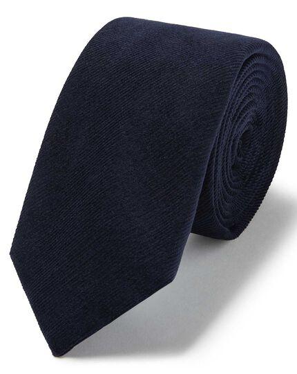 Navy cotton cord plain slim tie