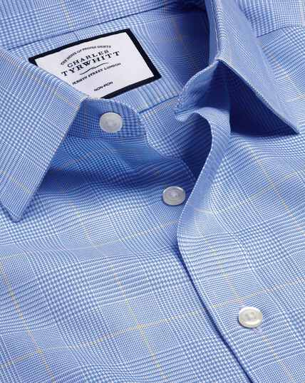 Non-Iron Prince of Wales Check Shirt - Blue & Gold